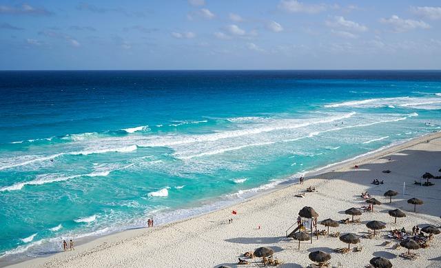 A bird's eye view of a beach in Cancun.