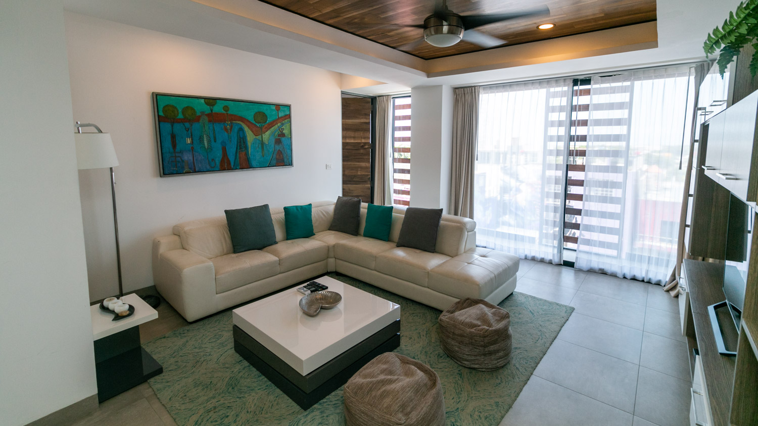 Living room in condo for sale in Playa del Carmen