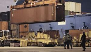 Port receiving goods in Israel
