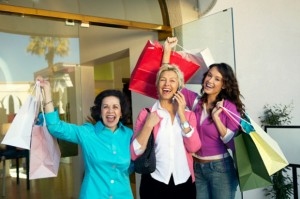 Hispanic women enjoy their shopping!